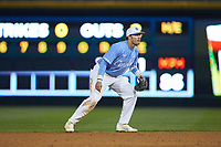 Zack Gahagan (10) of the North Carolina Tar Heels on defense against the Charlotte 49ers at BB&T BallPark on March 27, 2018 in Charlotte, North Carolina. The Tar Heels defeated the 49ers 14-2. (Brian Westerholt/Four Seam Images)
