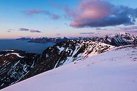 Spring sunset from summit of Ryten, Moskenesoy, Lofoten Islands, Norway