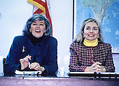 First lady Hillary Rodham Clinton meets with the bipartisan Congressional Caucus for Women's Issues on Capitol Hill in Washington, D.C. on Tuesday, February 23, 1993.  At left is U.S. Representative Pat Schroeder (Democrat of Colorado), Co-Chair of the Caucus. The meeting was to discuss women's issues.<br /> Credit: Jeff Markowitz / Pool via CNP