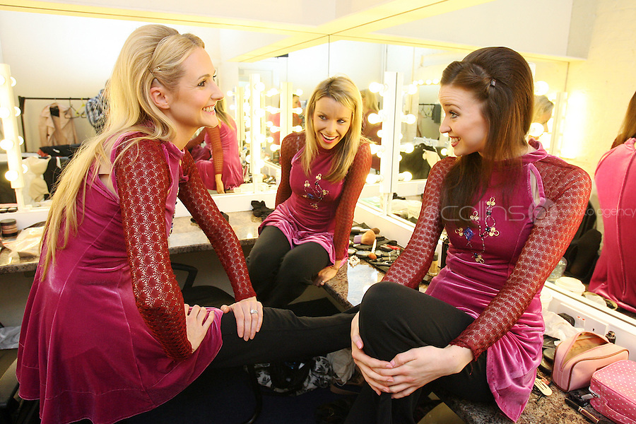 23/6/2010. River Dance dress rehearsal.  River dance performers Niamh O Connor, Donna Marie Boyle and  Maria Buffini are pictured backstage at the Gaiety Theatre Dublin during a full dress rehearsal for the show. Opening on Thursday next 24th June (preview Wednesday 23rd June) Riverdance will run at the Gaiety Theatre until 28th August . Picture James Horan/Collins Photos