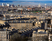 The city of Edinburgh from Calton Hill, looking towards the districts of Granton and Leith, Edinburgh Scotland.