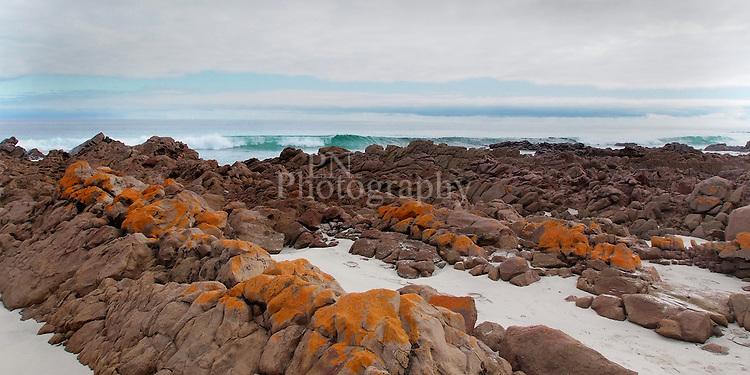 Kangaroo Island Landmark Stokes Bay South Australia the colors of the island in oranges and blue