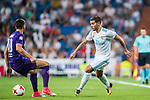 Theo Hernandez (r) of Real Madrid is tackled by Valentin Eysseric of ACF Fiorentina during the Santiago Bernabeu Trophy 2017 match between Real Madrid and ACF Fiorentina at the Santiago Bernabeu Stadium on 23 August 2017 in Madrid, Spain. Photo by Diego Gonzalez / Power Sport Images