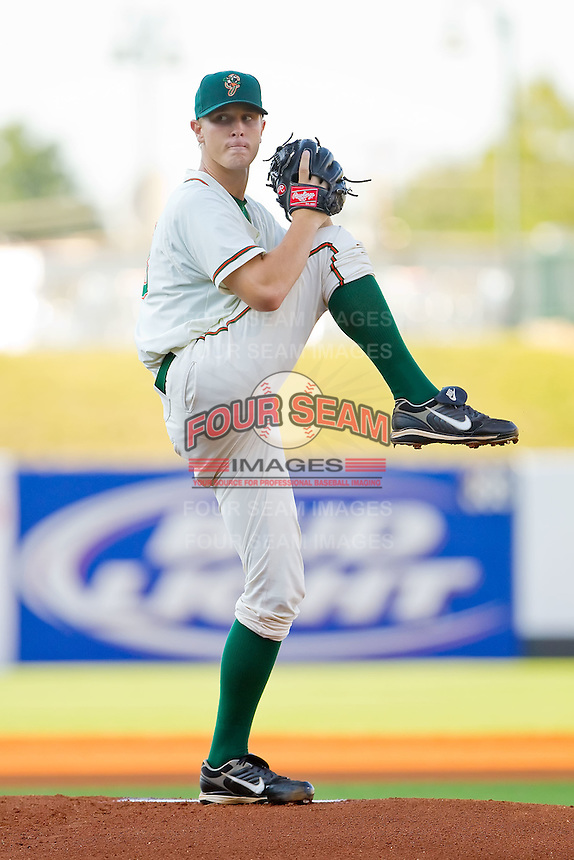 Starting pitcher Chad James #33 of the Greensboro Grasshoppers in action against the Lakewood BlueClaws at NewBridge Bank Park July 6, 2010, in Greensboro, North Carolina.  Photo by Brian Westerholt / Four Seam Images