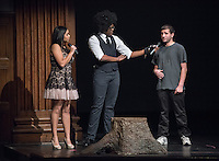 Apollo Night hosts Nina Reynoso '16 and Chance Ward '18 introduce Maayan Lev '17. Occidental College students perform and compete during Apollo Night, one of Oxy's biggest talent showcases, on Friday, Feb. 26, 2016 in Thorne Hall. Sponsored by ASOC, hosted by the Black Student Alliance as part of Black History Month.<br /> (Photo by Marc Campos, Occidental College Photographer)