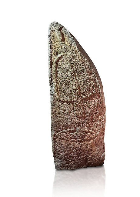 Late European Neolithic prehistoric Menhir standing stone with carvings on its face side. The representation of a stylalised male figure starts at the top with a long nose from which 2 eyebrows arch around the top of the stone. below this is a carving of a falling figure with head at the bottom and 2 curved arms encircling a body above. at the bottom is a carving of a dagger running horizontally across the menhir. Excavated from Pranu Maore I site,  Laconi. Menhir Museum, Museo della Statuaria Prehistorica in Sardegna, Museum of Prehoistoric Sardinian Statues, Palazzo Aymerich, Laconi, Sardinia, Italy. White background.
