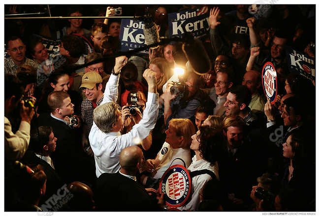 Senator John Kerry, Democractic candidate for President, on the campaign trail, February 2004.