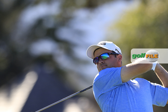 Corey Conners (CAN) tees off the 11th tee at Pebble Beach course during Friday's Round 2 of the 2018 AT&amp;T Pebble Beach Pro-Am, held over 3 courses Pebble Beach, Spyglass Hill and Monterey, California, USA. 9th February 2018.<br /> Picture: Eoin Clarke | Golffile<br /> <br /> <br /> All photos usage must carry mandatory copyright credit (&copy; Golffile | Eoin Clarke)