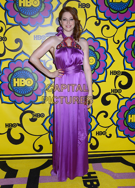 Esme Bianco.2012 HBO Post Award Reception following the 64th Primetime Emmy Awards held at the Pacific Design Center, West Hollywood, California, USA..23rd September 2012.emmys full length purple silk satin dress hand on hip.CAP/ADM/BT.©Birdie Thompson/AdMedia/Capital Pictures.