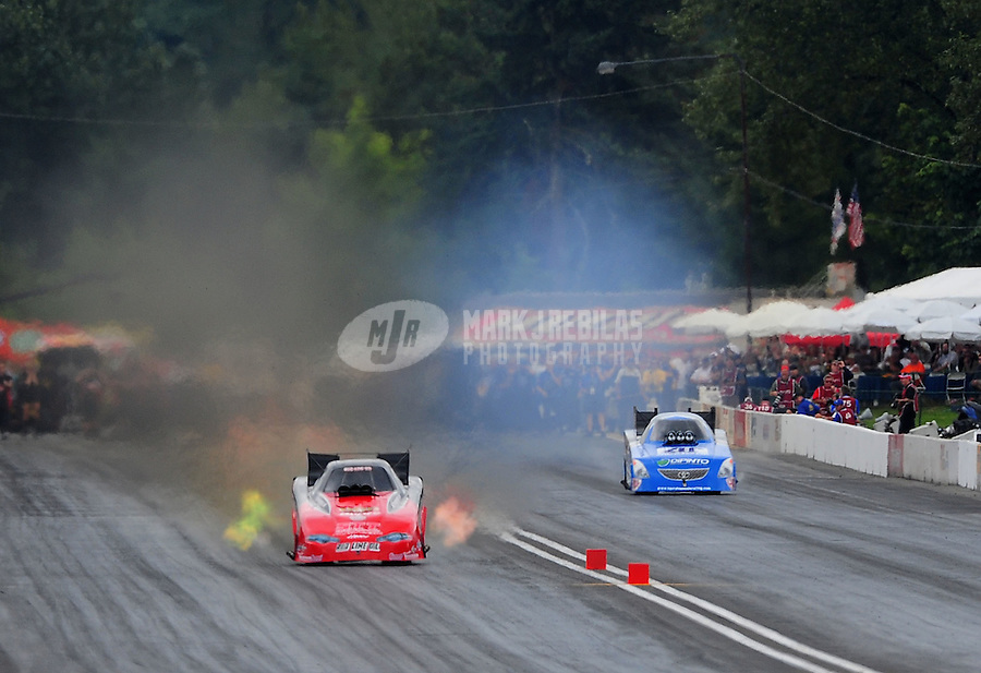 Aug. 6, 2011; Kent, WA, USA; NHRA funny car driver Jeff Diehl during qualifying for the Northwest Nationals at Pacific Raceways. Mandatory Credit: Mark J. Rebilas-