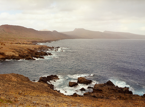 Coastline and ocean in the area of Biscainho, Porto Formoso, Cape Verde Islands, Africa.
