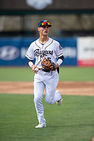 Kane County Cougars shortstop Blaze Alexander (5) jogs off the field between innings of a Midwest League game against the Cedar Rapids Kernels at Northwestern Medicine Field on April 28, 2019 in Geneva, Illinois. Kane County defeated Cedar Rapids 3-2 in game one of a doubleheader. (Zachary Lucy/Four Seam Images)