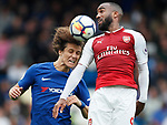 David Luiz of Chelsea and Alexandre Lacazette of Arsenal during the premier league match at Stamford Bridge Stadium, London. Picture date 17th September 2017. Picture credit should read: David Klein/Sportimage