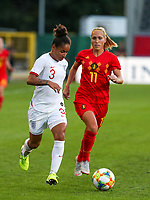 20190829 - LEUVEN , BELGIUM : England's Demi Stokes (left) and Belgium's Janice Cayman (right) are pictured during the female soccer game between the Belgian Red Flames and England , The Lionesses , a friendly womensoccer game in the preparation for the European Championship qualification round in group H for England 2021, Tuesday 29 th August 2019 at the King Power Stadion Den Dreef in Leuven , Belgium. PHOTO SPORTPIX.BE | SEVIL OKTEM