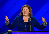 United States Representative Linda Sanchez (Democrat of California) makes remarks at the 2016 Democratic National Convention at the Wells Fargo Center in Philadelphia, Pennsylvania on Monday, July 25, 2016.<br /> Credit: Ron Sachs / CNP<br /> (RESTRICTION: NO New York or New Jersey Newspapers or newspapers within a 75 mile radius of New York City)