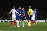 Chelsea's Cesc Fabregas, Gary Cahill and Alvaro Morata appeal for a penalty to referee Miroslav Zelinka<br /> <br /> Photographer Rob Newell/CameraSport<br /> <br /> UEFA Europa League - Group L - Chelsea v MOL Vidi - Thursday 4th October 2018 - Stamford Bridge - London<br />  <br /> World Copyright © 2018 CameraSport. All rights reserved. 43 Linden Ave. Countesthorpe. Leicester. England. LE8 5PG - Tel: +44 (0) 116 277 4147 - admin@camerasport.com - www.camerasport.com