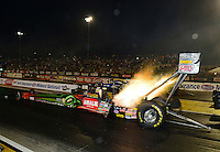 Sept. 28, 2012; Madison, IL, USA: NHRA top fuel dragster driver Terry McMillen during qualifying for the Midwest Nationals at Gateway Motorsports Park. Mandatory Credit: Mark J. Rebilas-