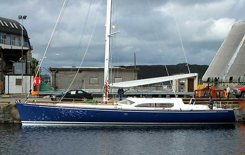 70ft Nimmo newly-launched in Galway Docks, after being built by Dan Mill