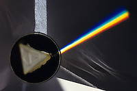 SPECTRUM: LIGHT REFRACTED BY A PRISM<br /> White light entering and spectral light exiting<br /> The various wavelengths of visible light, a small part of the electromagnetic spectrum, are separated because the refractive index of the prism substance varies for the different wavelengths.