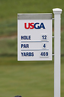 A general view of the yardage sign on the 12th hole during the Wednesday practice round of the 118th U.S. Open Championship at Shinnecock Hills Golf Club in Southampton, NY, USA. 13th June 2018.<br /> Picture: Golffile | Brian Spurlock<br /> <br /> <br /> All photo usage must carry mandatory copyright credit (&copy; Golffile | Brian Spurlock)