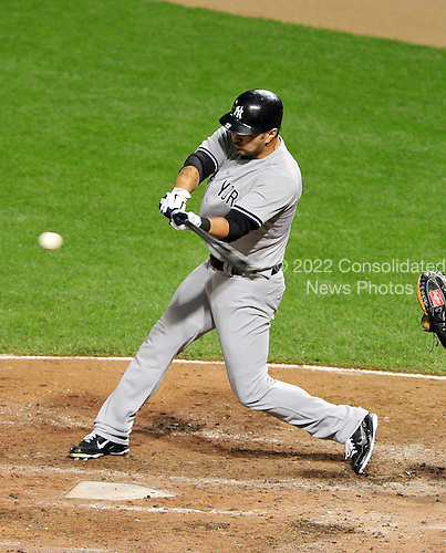 New York Yankees third baseman Eric Chavez (12) doubles in the seventh inning against the Baltimore Orioles at Oriole Park at Camden Yards in Baltimore, Maryland on Monday, August 29, 2011.  The Yankees won the game 3 - 2..Credit: Ron Sachs / CNP.(RESTRICTION: NO New York or New Jersey Newspapers or newspapers within a 75 mile radius of New York City)