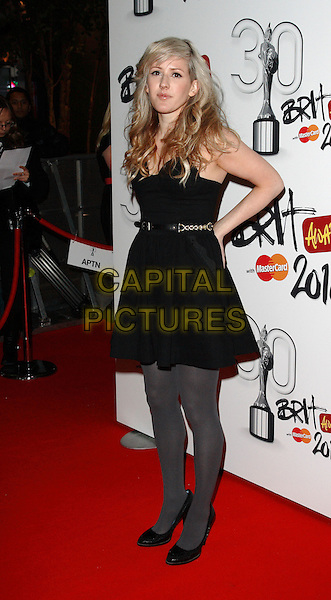 ELLIE GOULDING .Brit Awards Nominations at Indigo O2, London, England, UK,.January 18th 2010..brits full length strapless black dress grey gray tights shoes waist belt .CAP/ROS.©Steve Ross/Capital Pictures