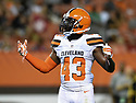 CLEVELAND, OH - AUGUST 18, 2016: Cornerback Charles Gaines #43 of the Cleveland Browns stands on the field in the fourth quarter of a preseason game on August 18, 2016 against the Atlanta Falcons at FirstEnergy Stadium in Cleveland, Ohio. Atlanta won 24-13. (Photo by: 2016 Nick Cammett/Diamond Images) *** Local Caption *** Charles Gaines
