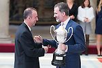 King Felipe VI of Spain gives award to Hugo Gonzalez's father during National Sport Awards 2016 at El Pardo Palace in Madrid , Spain. February 19, 2018. (ALTERPHOTOS/Borja B.Hojas)