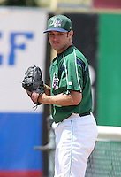 A.J. Battisto of the Jamestown Jammers, Class-A affiliate of the Florida Marlins, during New York-Penn League baseball action.  Photo by Mike Janes/Four Seam Images