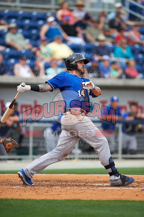 Biloxi Shuckers first baseman Nick Ramirez (14) at bat during the first game of a double header against the Pensacola Blue Wahoos on April 26, 2015 at Pensacola Bayfront Stadium in Pensacola, Florida.  Biloxi defeated Pensacola 2-1.  (Mike Janes/Four Seam Images)