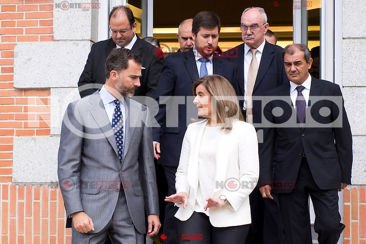 25.09.2012. Prince Felipe of Spain attends in audience a a representation of the Spanish Business Confederation of Social Economy (CEPES), chaired by  Juan Antonio Pedrero Frutos, in the Zarzuela Palace, Madrid, Spain. In the image Prince Felipe of Spain and Fatima Banez Garcia,  (Minister of Employment and Social Security).  (Alterphotos/Marta Gonzalez) /NortePhoto<br /> <br /> **CREDITO*OBLIGATORIO** *No*Venta*A*Terceros*<br /> *No*Sale*So*third*...