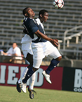 04 September 2009: Bright Dike #9 of the University of Notre Dame goes after a loose ball with Ike Opara #23 of Wake Forest University during an Adidas Soccer Classic match at the University of Indiana in Bloomington, In. The game ended in a 1-1 tie..