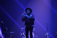 LONDON, ENGLAND - APRIL 12: Win Butler of 'Arcade Fire' performing at SSE Arena on April 12, 2018 in London, England.<br /> CAP/MAR<br /> &copy;MAR/Capital Pictures