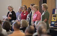 NWA Democrat-Gazette/J.T. WAMPLER Sister Simone Campbell (LEFT) smiles while being introduced Sunday Sept. 13, 2015 at St. Paul&rsquo;s Episcopal Church in Fayetteville.<br /> <br /> ((SEE 001 PHOTO FOR EXTENDED CUTLINE INFO))