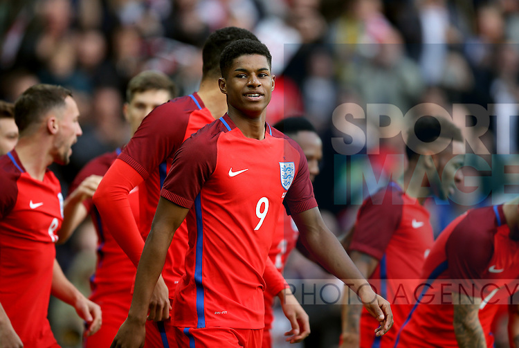 Marcus Rashford of England celebrates his first goal during the International Friendly match at the Stadium of Light, Sunderland. Photo credit should read: Simon Bellis/Sportimage