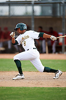 Oakland Athletics minor league infielder Chris Bostick #6 during an instructional league game against the Arizona Diamondbacks at the Papago Park Baseball Complex on October 11, 2012 in Phoenix, Arizona. (Mike Janes/Four Seam Images)