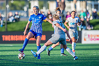Boston, MA - Sunday May 07, 2017: Megan Oyster and McCall Zerboni during a regular season National Women's Soccer League (NWSL) match between the Boston Breakers and the North Carolina Courage at Jordan Field.