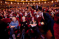 The Netherlands, Amsterdam, 17 November 2010. Opening of the 23rd International Documentary Film Festival Amsterdam (IDFA 2010). Festival director Ally Derks (middle) and Derk Sauer (right, chairman IDFA) in Pathe Tuschinski. Photo: Bram Belloni /// © 2010 Bram Belloni, all rights reserved /// Copyright information: http://www.belloni.nl /// bram@belloni.nl /// +31626698929 /// Reference code: 101117041 Opening IDFA 2010.jpg, The Netherlands/NLD, Amsterdam, 17NOV10