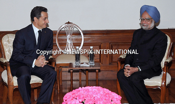 "PRESIDENT NICOLAS SARKOZY AND CARLA BRUNI VISIT INDIA.President Sarkozy in talks with Prime Minister, Dr. Manmohan Singh, Ne Delhi_05/12/2010..Photo Credit: ©Kumar_Newspix International..**ALL FEES PAYABLE TO: ""NEWSPIX INTERNATIONAL""**..PHOTO CREDIT MANDATORY!!: NEWSPIX INTERNATIONAL..IMMEDIATE CONFIRMATION OF USAGE REQUIRED:.Newspix International, 31 Chinnery Hill, Bishop's Stortford, ENGLAND CM23 3PS.Tel:+441279 324672  ; Fax: +441279656877.Mobile:  0777568 1153.e-mail: info@newspixinternational.co.uk."