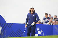 Tommy Fleetwood (Team Europe) on the 7th tee during Friday Fourball at the Ryder Cup, Le Golf National, Iles-de-France, France. 28/09/2018.<br /> Picture Thos Caffrey / Golffile.ie<br /> <br /> All photo usage must carry mandatory copyright credit (© Golffile | Thos Caffrey)