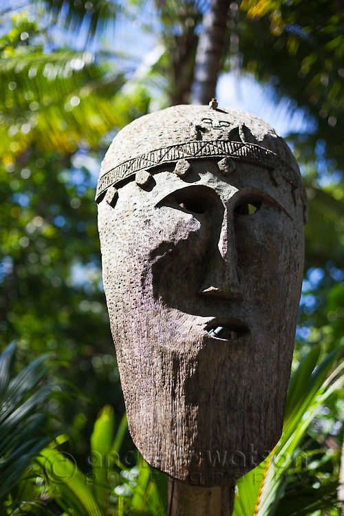 Tribal mask decoration at Double Island Resort. Palm Cove, Cairns, Queensland, Australia