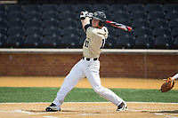 Jonathan Pryor (11) of the Wake Forest Demon Deacons follows through on his swing against the Pittsburgh Panthers Pittsburgh Panthers at David F. Couch Ballpark on May 20, 2017 in Winston-Salem, North Carolina. The Demon Deacons defeated the Panthers 14-4.  (Brian Westerholt/Four Seam Images)