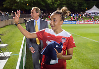 Boyds, MD - Saturday May 20, 2017: Mallory Pugh and Jim Gabarra during a regular season National Women's Soccer League (NWSL) match between the Washington Spirit and FC Kansas City at Maureen Hendricks Field, Maryland SoccerPlex.