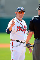 Atlanta Braves manager Rocket Wheeler during a minor league Spring Training game against the Baltimore Orioles at Al Lang Field on March 13, 2013 in St. Petersburg, Florida.  (Mike Janes/Four Seam Images)