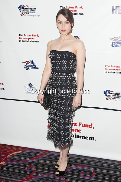 NEW YORK, NY - APRIL 29: Emilia Clarke attends the 2013 Actors Fund's Annual Gala honoring Robert De Niro at The New York Marriott Marquis on April 29, 2013 in New York City. ..Credit: MediaPunch/face to face..- Germany, Austria, Switzerland, Eastern Europe, Australia, UK, USA, Taiwan, Singapore, China, Malaysia, Thailand, Sweden, Estonia, Latvia and Lithuania rights only -