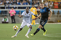 SAN JOSE, CA - SEPTEMBER 25: Jamiro Monteiro #35 of the Philadelphia Union and Tommy Thompson #22 of the San Jose Earthquakes during a game between Philadelphia Union and San Jose Earthquakes at Avaya Stadium on September 25, 2019 in San Jose, California.