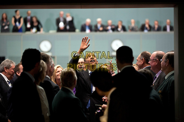 United States President Barack Obama waves to people in the gallery after addressing the Australian Parliament in the House of Representatives at Parliament House in Canberra, Australia, November 17, 2011. .CAP/ADM/CNP/PS.©Pete Souza/White House/CNP/ADM/CapitalPictures