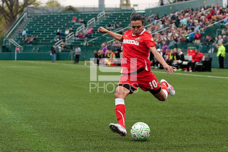 Marta of the Western New York Flash in takes a shot during the first half of WPS play against the Atlanta Beat at Sahlen's Stadium in Rochester, NY May 01, 2011. New York 3, Atlanta 0.