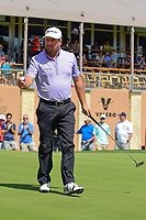 Graeme McDowell (NIR) after sinking his putt on 18 during round 2 of the Valero Texas Open, AT&amp;T Oaks Course, TPC San Antonio, San Antonio, Texas, USA. 4/21/2017.<br /> Picture: Golffile | Ken Murray<br /> <br /> <br /> All photo usage must carry mandatory copyright credit (&copy; Golffile | Ken Murray)