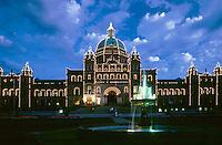 Victoria Capitol Building at Twilight. Victoria British Columbia Canada city.